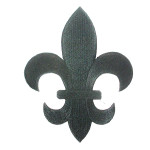 """Fleur De Lys Black Embroidered Iron On Patch Applique 5 7/8"""" tall"""