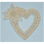 Bridal Applique - Floral Heart Pearl Ivory