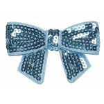 Iron On Patch Applique - Sequin Bow Turquoise