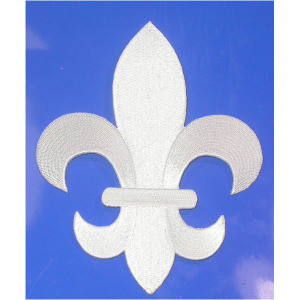 "Fleur De Lys White Embroidered Iron On Patch Applique 5 7/8"" tall"