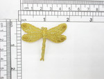 "Dragonfly Metallic Gold Embroidered Iron On Patch Applique 1 5/8"" x 1 7/8"""