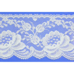 "Flat Lace 4"" Floral Light Blue 110 Yard Roll"