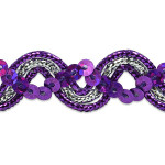 "Sequin Metalic Braid 5/8"" Purple & Silver 5 Yards"
