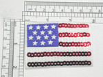 """USA Flag Stars & Stripes Sequinned Iron On Patch Applique  Embroidered on Sateen Backing with Rayon Threads and Red and White Sequin Detailing   Measures 2"""" high x 2 7/8"""" wide approximately"""