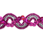 "Sequin Metalic Braid 5/8"" Fuschia & Silver 5 Yards"
