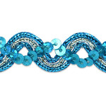 "Sequin Metalic Braid 5/8"" Turquoise & Silver 5 Yards"