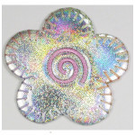 "Iron On Patch Applique - 2 1/4"" Holographic Silver Daisy"