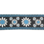 "Jacquard Ribbon 2 1/4"" (57mm) Daisy Pattern Blue Priced Per Yard"