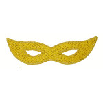 Iron On Patch Applique - Sparkle Mardi Gras Mask Yellow