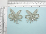 Bridal Beaded Applique Pair Silver