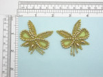 Bridal Beaded Applique Pair Gold