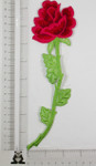 Iron On Patch Applique - Long Rose Spray Hot Pink and Red