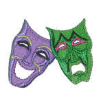 Iron On Patch Applique - Comedy Tragedy Drama Mask