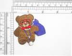 """Doctor Teddy Bear Iron On Patch Applique  Fully Embroidered Measures 1 3/4"""" high x 2"""" wide approximately"""