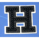Iron On Patch Applique - Black Sequin Letter H
