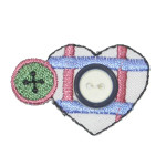 Sewing Heart & Button Patch Embroidered Iron On Applique
