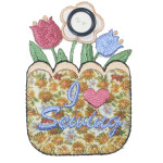 Iron On Patch Applique - Sewing Flower Basket