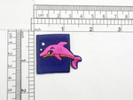 "Dolphin Pink Iron On Patch Applique  Embroidered on Velveteen Backing Measures 1 1/4"" high x 1 1/2"" wide approximately"