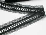 "Fancy Insertion Lace with Ribbon 2 1/4"" (57mm) Black Per Yard"