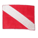 Iron On Patch Applique - Diving Flag Red and White