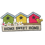 Iron On Patch Applique - Bird houses 'Home Sweet Home'