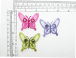 """Butterfly Patch Mirror Wings Sheer 1 3/4"""" Iron On Embroidered Applique"""
