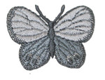 "Iron On Patch Applique - Butterfly 1 1/2"" Gray Silver"