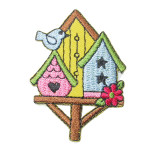 Iron On Patch Applique - Three Colorful Bird Houses