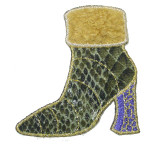 Iron On Patch Applique - Faux Snakeskin Boot Yellow Trim