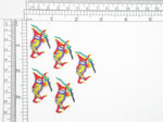 "5 x  Carnival Jester Iron On Applique  Embroidered on White Backing  Measures 1 1/4"" high x 1"" wide approximately"