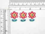 "3 x Flower Mexicana Embroidered Iron On Applique  Embroidered on White Backing with Rayon Threads  Measures 1"" high x 3/4"" wide approximately"