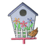 Iron On Patch Applique - Bird House Blue