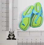 Iron On Patch Applique - Green Flip Flops