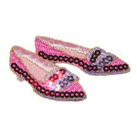 Iron On Patch Applique - Sequin Shoes Pink