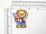 Bear with Flag Patch Patriotic Iron On Embroidered Applique