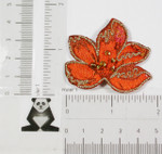 Iron On Patch Applique - Brocade Flower with Beads RUST