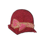 Iron On Patch Applique - Wine Hat Pink Bow