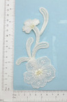 Bridal White and Ivory Flower Spray Beaded - Embroidered Iron on Applique
