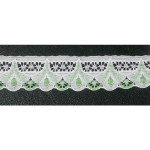 "Flat Lace 1 1/4"" White & Green 50 Yards"