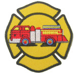 Iron On Patch Applique - Fire Truck in Emblem