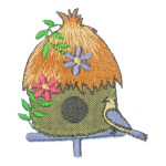 Iron On Patch Applique - Thatched Bird House
