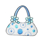 Iron On Patch Applique - Blue and White Handbag