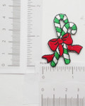 "Candy Canes 1 3/4"" high x 1 1/2"" Iron On Patch Applique"