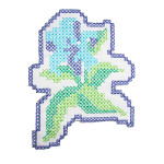 Iron On Patch Applique - Blue Cross Stitch Flower