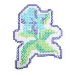 Iron On Patch Applique - Blue Cross Stitch Flower