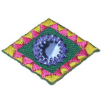 Iron On Patch Applique - Decorative Mirrored Diamond Blue