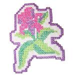 Iron On Patch Applique - Pink Cross Stitch Flower
