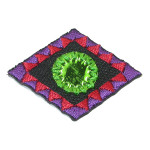 Iron On Patch Applique - Decorative Mirrored Diamond Green
