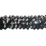 "Sequin Stretch 1 1/4"" Black 10 Yard Roll"