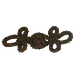 Frog Closure Brown Chunky  with Glass Bugle Beads,